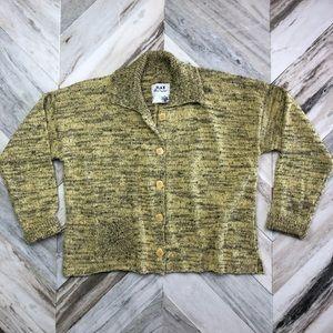 FLAX Knit Cardigan Sweater ButtonDown Yellow Black